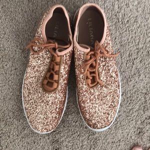 Liliana rose gold glitter sneakers size 10